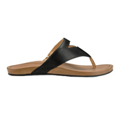 OluKai Lala Womens Flip Flops, Black-Tan, medium