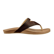 OluKai Lala Womens Flip Flops, Kona Coffee-Tan, medium