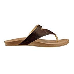 OluKai Lala Womens Flip Flops, Kona Coffee-Tan, 256