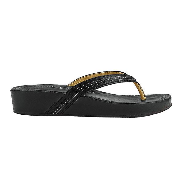 OluKai Ola Womens Flip Flops, Black-Black, 600