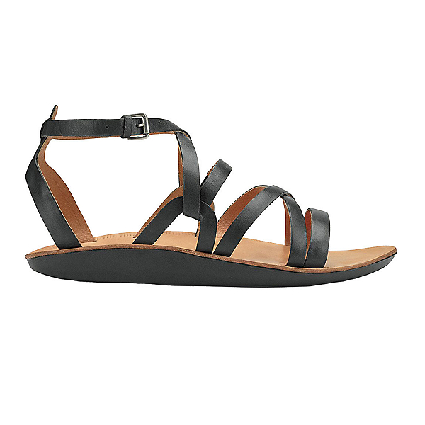OluKai Po'iu Womens Sandals, Black-Black, 600
