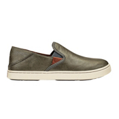 OluKai Pehuea Leather Womens Shoes, Pewter-Charcoal, medium