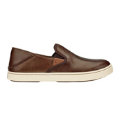 OluKai Pehuea Leather Womens Shoes, Bronze-Dark Java, medium