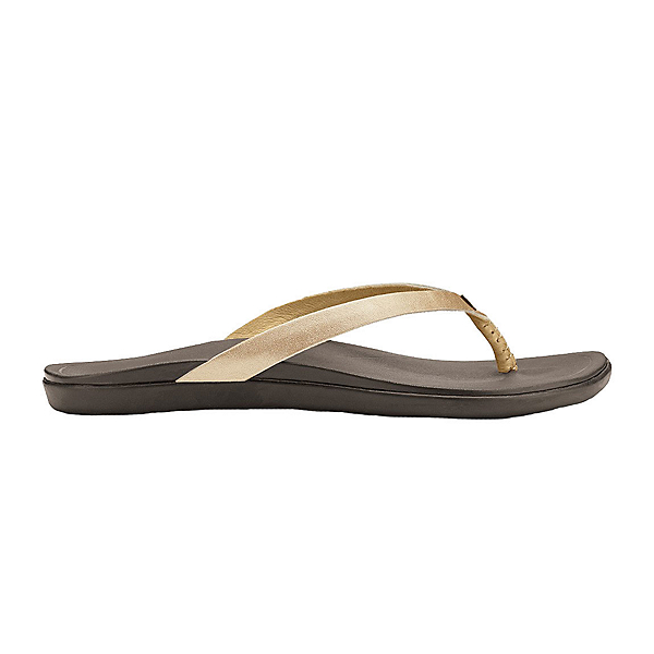 OluKai Ho'opio Leather Womens Flip Flops, Bubbly-Dark Java, 600