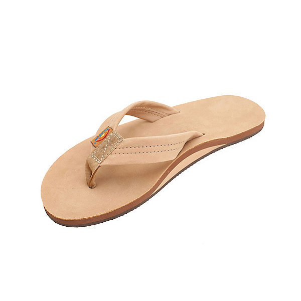 Rainbow Sandals Single Layer Premier Leather Mens Flip Flops, Sierra Brown, 600