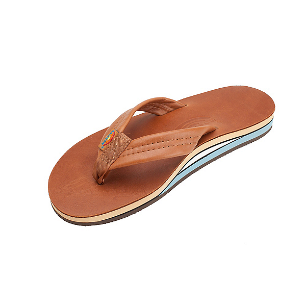 Rainbow Sandals Double Layer Classic Leather Mens Flip Flops, Tan, 600