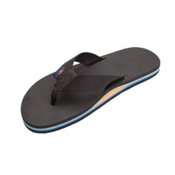 Rainbow Sandals Classic Rubber Mens Flip Flops, All Black-Rainbow Arch, medium