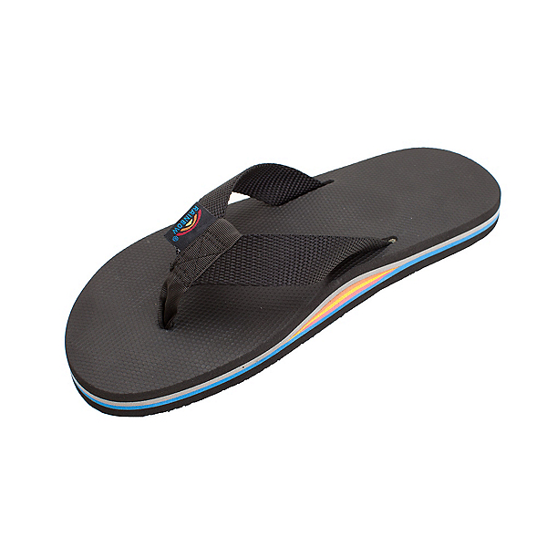 Rainbow Sandals Classic Rubber Mens Flip Flops, All Black-Rainbow Arch, 600