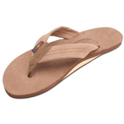 Rainbow Sandals Premier Leather Womens Flip Flops, Dark Brown, medium