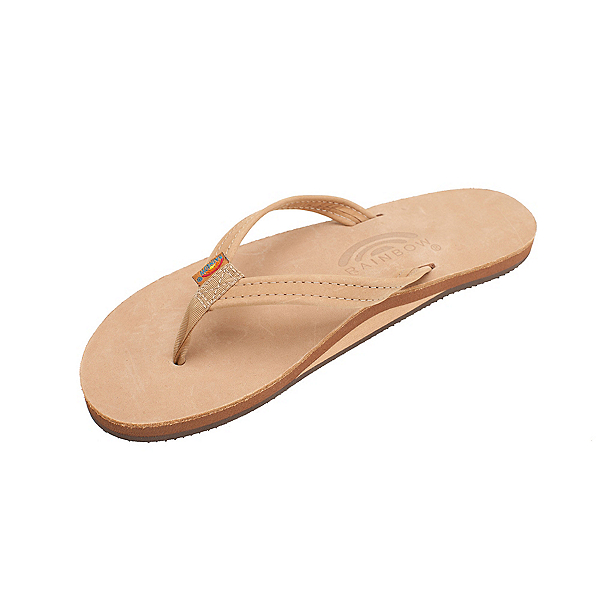 Rainbow Sandals Premier Leather Narrow Strap Womens Flip Flops, Sierra Brown, 600