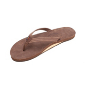 Rainbow Sandals Premier Leather Narrow Strap Womens Flip Flops, Expresso, medium