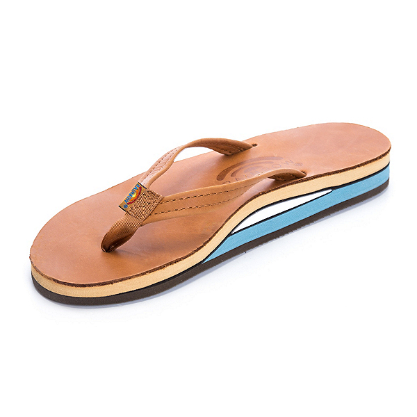 Rainbow Sandals Double Layer Classic Leather Womens Flip Flops, Tan-Blue, 600
