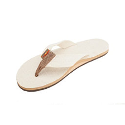 Rainbow Sandals Single Layer Hemp Womens Flip Flops, Natural, 256