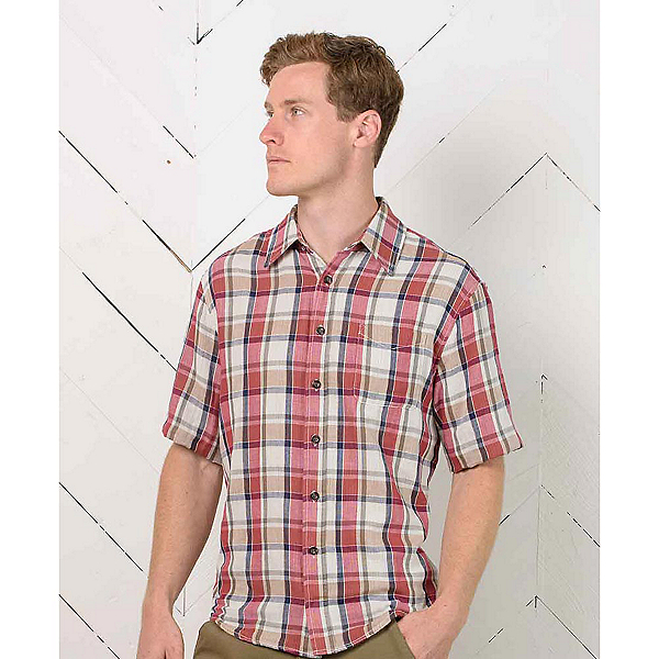 Purnell Short Sleeve Double Sided Mens Shirt, Red-Contrast Stripe, 600