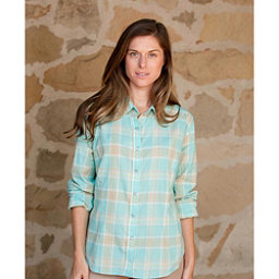 Purnell Aquamarine Madras Plaid Womens Shirt, , 256