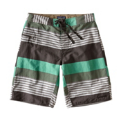 Patagonia Wavefarer Mens Board Shorts, Fitz Stripe-Galah Green, medium