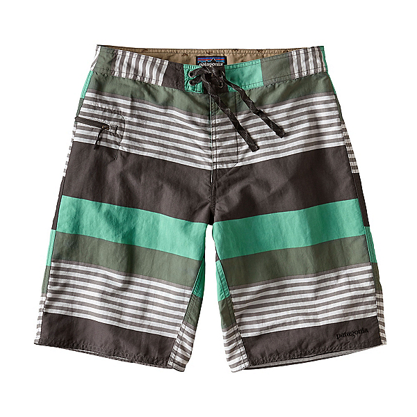 Patagonia Wavefarer Mens Board Shorts, Fitz Stripe-Galah Green, 600