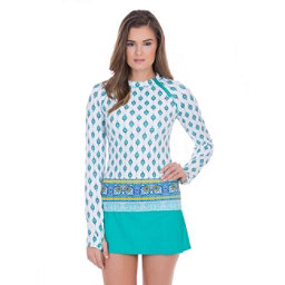 Cabana Life Sardinia Sands Zipper Womens Rash Guard, , 256