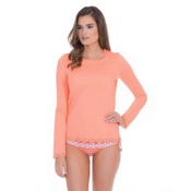 Cabana Life Scallop Womens Rash Guard, Coral, medium