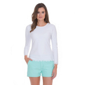 Cabana Life Scallop Womens Rash Guard, White, medium
