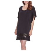 Dotti Summer Sunset Fringe Tunic Bathing Suit Cover Up, Black, medium