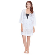 Dotti Gypsy Dance Kimono Tunic Bathing Suit Cover Up, White, medium