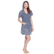 Dotti Charming Crochet Hoodie Bathing Suit Cover Up, Denim, medium