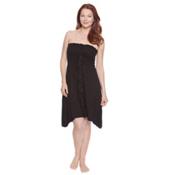 Dotti Beachside Beauty Smocked Bathing Suit Cover Up, Black, medium