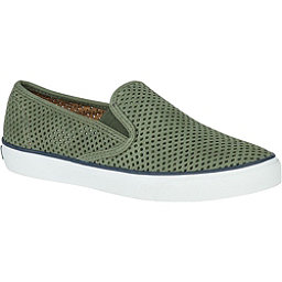 Sperry Seaside Perforated Leather Womens Shoes, Olive, 256