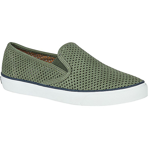 Sperry Seaside Perforated Leather Womens Shoes, Olive, 600