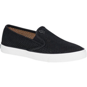 Sperry Seaside Perforated Leather Womens Shoes, Black, medium