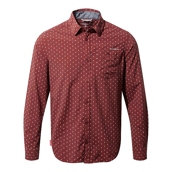 Craghoppers Nosilife Todd Long Sleeve Mens Shirt, Carmine Red Combo, 600