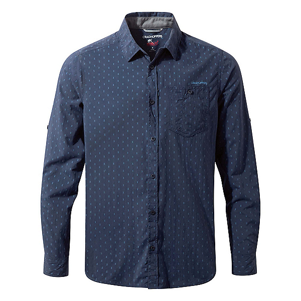 Craghoppers Nosilife Todd Long Sleeve Mens Shirt, Night Blue Combo, 600