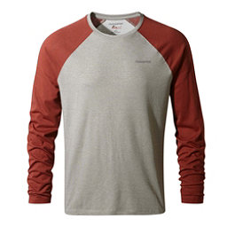 Craghoppers Nat Geo Nosilife Bayame Long Sleeve Mens Shirt, Soft Grey Marl-Carmine Red, 256