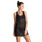 Roxy Crochet Easy Dress Bathing Suit Cover Up, Anthracite, medium