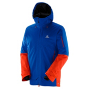 Salomon QST Guard Jacket Mens Insulated Ski Jacket, Blue Yonder-Vivid Orange, medium