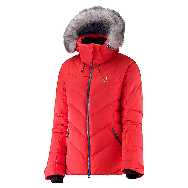 Salomon Icetown w/ Faux Fur Womens Insulated Ski Jacket, Infrared, 600