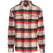 Woolrich Oxbow Pass Eco Rich Flannel Shirt, Stone Herringbone, medium