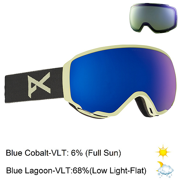 Anon WM 1 Womens Goggles 2018, Gray-Blue Cobalt + Bonus Lens, 600