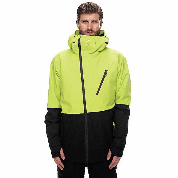 686 GLCR Hydra Thermagraph Mens Insulated Snowboard Jacket, Lime Twill Colorblock, 600