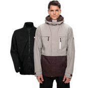 686 Smarty 3-in-1 Form Mens Insulated Snowboard Jacket, Light Grey Rip Stop Colorblock, medium