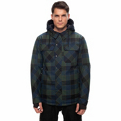 686 Woodland Mens Insulated Snowboard Jacket, Blue Green Plaid, medium
