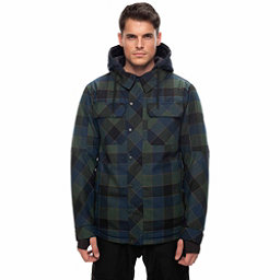686 Woodland Mens Insulated Snowboard Jacket, Blue Green Plaid, 256