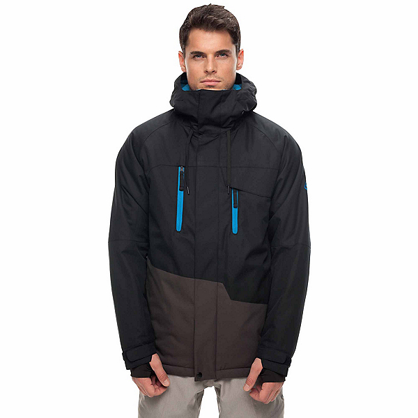 686 Geo Mens Insulated Snowboard Jacket, Black Colorblock, 600