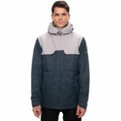 686 Moniker Mens Insulated Snowboard Jacket, Dark Denim Melange Colorblock, medium