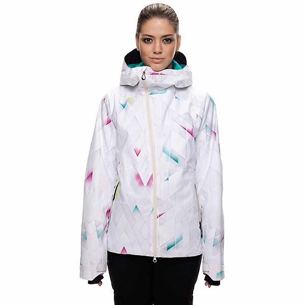 686 GLCR Hydra Womens Insulated Snowboard Jacket, White Diamond Fade, 600