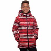 686 Jinx Insulated Boys Snowboard Jacket, Red Stripe Print, medium