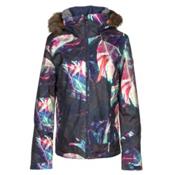Roxy Jet Ski Premium Faux Fur Womens Insulated Snowboard Jacket, Peacoat-Seamless Feathers, medium