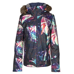 Roxy Jet Ski Premium w/Faux Fur Womens Insulated Snowboard Jacket, Peacoat-Seamless Feathers, 256