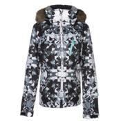 Roxy Jet Ski Premium Faux Fur Womens Insulated Snowboard Jacket, Bright White-Geodeco, medium